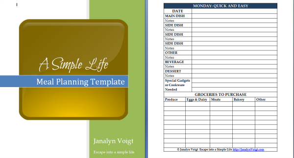 Screen shot of menu planner